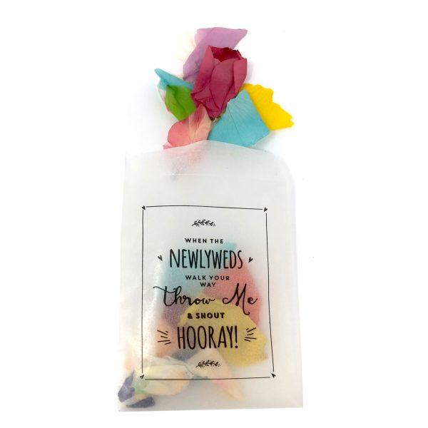 Glassine Bags newlyweds bride and groom petals