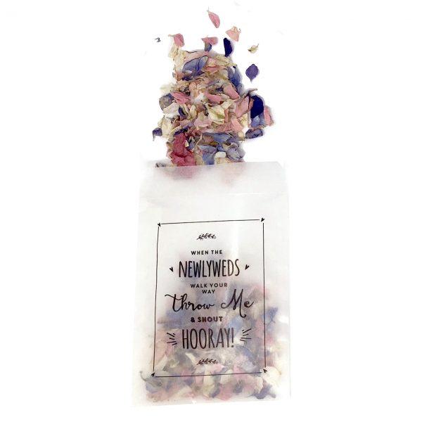 Delphinium petals and glassine bags wedding confetti