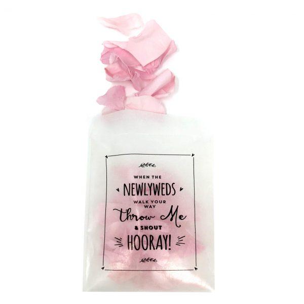 pink rose petal confetti glassine bags wedding confetti